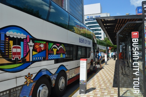 Busan hop-on hop-off tourist bus.