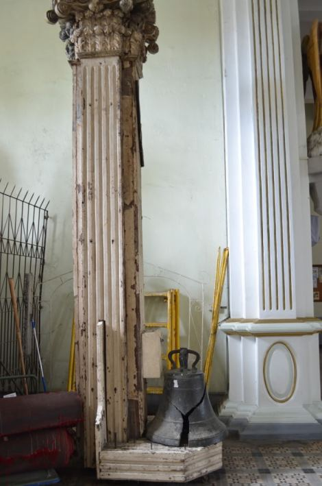 They were able to save one of the original interior columns and a bell, but only as decorations. These suffered severe damages during WWII and some earthquakes.