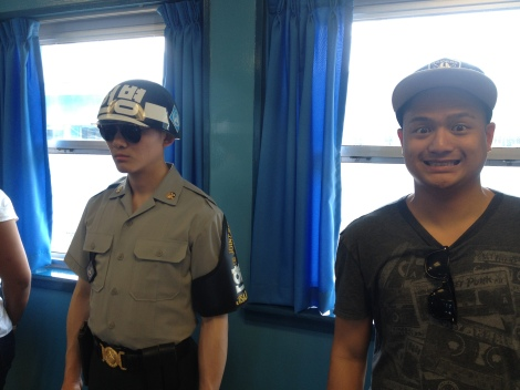 Cheesin' with the guards.