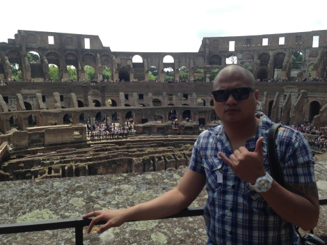 Inside the Colosseum.