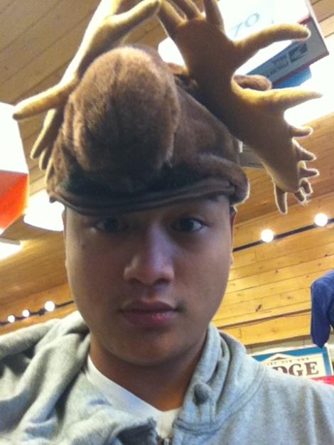 Random moose hat.