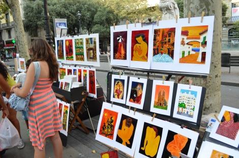 Las Ramblas art scene.