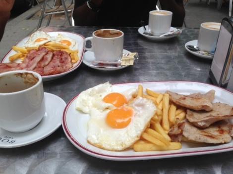 Breakfast outside the hostel.
