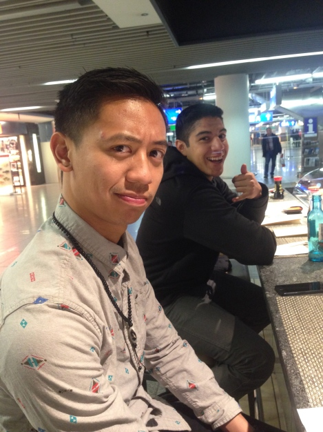 Brandon & Julian getting some Japanese grub at the airport.
