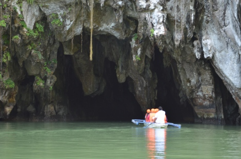 Entering the mouth of the cave.