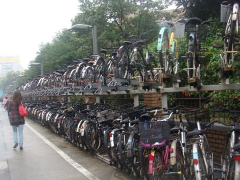 The first thing in Taiwan that made me go whoa, were the massive amount of bikes. This is how they park the bikes along the sidewalk.
