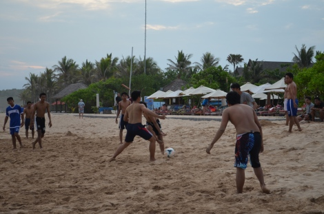 Locals playing futbol.