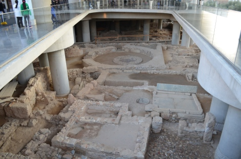 Underground excavation right outside the main entrance of the Acropolis Museum.