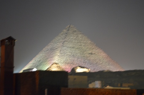 Pyramid light show.