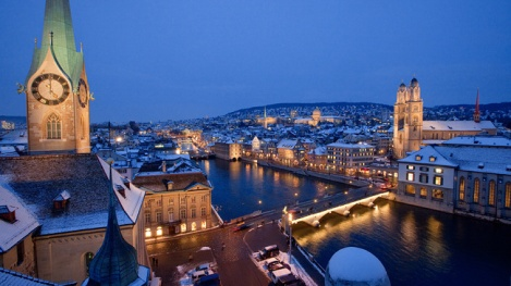 Zurich at night. photo courtesy of myswitzerland.com